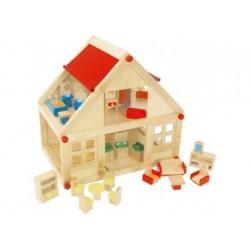 Puppenhaus - inkl. 22 Puppenmöbel
