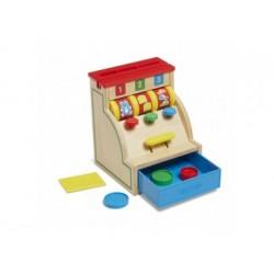 Spielkasse aus Holz mit Funktion und Geld