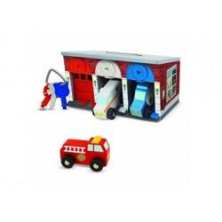 Spielgarage - Rettungsdienstgarage aus Holz