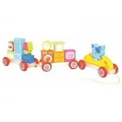 Ziehspielzeug - Holzzug mit Bausteinen
