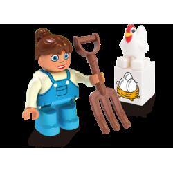 Bäuerin mit Huhn