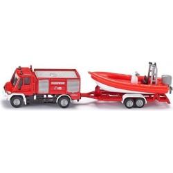 Siku 1636 Unimog Feuerwehr mit Boot 1:87