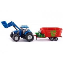Siku 1988, New Holland Traktor mit Frontlader und Strautmann Futtermischwagen
