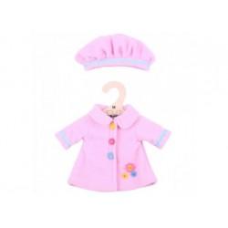 Puppenkleidung - Mantel und Mütze Rosa