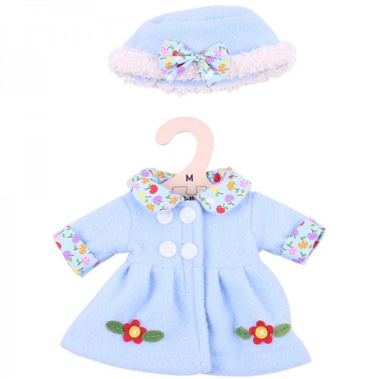 Puppenkleidung - Mantel und Mütze Blau