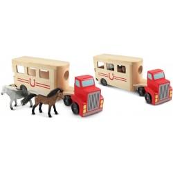 Pferdeanhänger aus Holz mit 2 Pferden