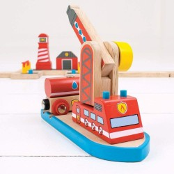 Holzeisenbahn Zubehör - Feuerwehrschiff