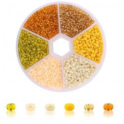 Rocailles-Perlen-Set Gelb