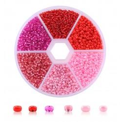 Rocailles-Perlen-Set Rot