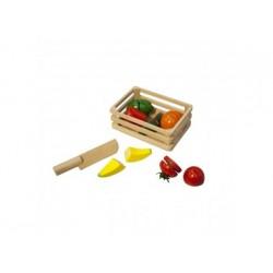Schneide Obst und Gemüse aus Holz