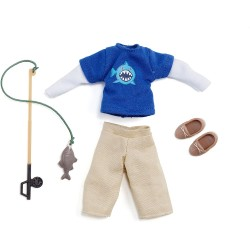 Lottie Puppenkleidung Angler-Outfit mit Angel