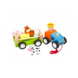 Holztraktor - Bauer mit Tieren