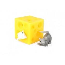 Antistress - Dehnbarer Hüpf-Käse mit 2 Mäusen