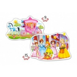 Konturpuzzle, Prinzessinnen-Ball,  2er-Set