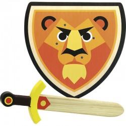 Schild mit Schwert aus Holz - Löwe