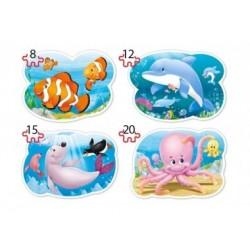 Puzzle, Unterwasserwelt, 4er-Set Konturpuzzle