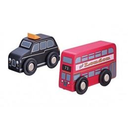 Spielautos - Roter Bus und schwarzes Taxi