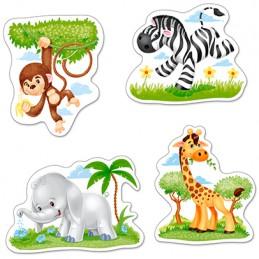 Kinderpuzzle - Afrikanische Tiere - 4×Puzzle