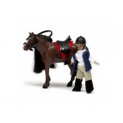Puppenhaus Zubehör - Pferd und Mädchen