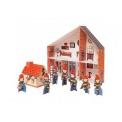 Puppenhaus Feuerwehr aus Pappe