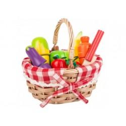 Kinder-Einkaufskorb mit Schneide-Lebensmitteln